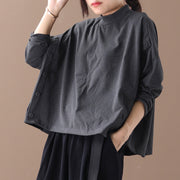 Buykud Casual Side Buckle Design Stand Collar Shirt