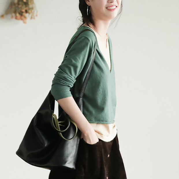 Buykud Solid Color Spliced Fake Two-piece Blouse