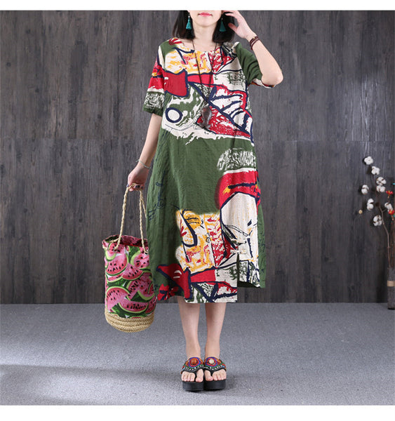Ethnic Printing Round Neck Women Green Dress - Buykud
