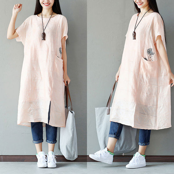 Embroidered Cotton Splitting Linen Women Loose Pink Dress