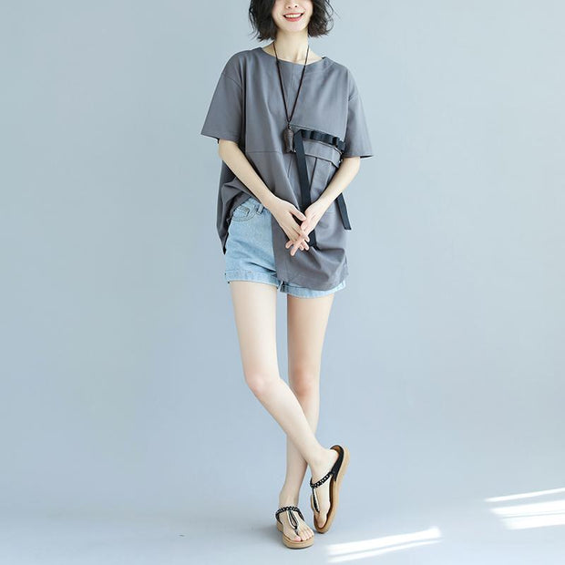 Casual Round Neck Short Sleeve Irregular Summer Shirt