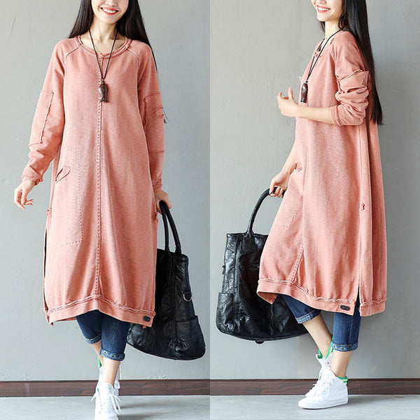 Women Casual Pocket Slit Splicing Cotton Linen Orange Shirt
