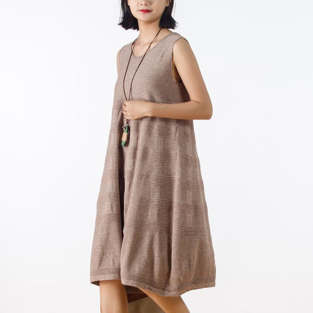 Autumn Knitting Sleeveless Dress Round Neck