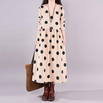 Buykud Autumn V-Neck Polka Dots Elegant Loose Dress