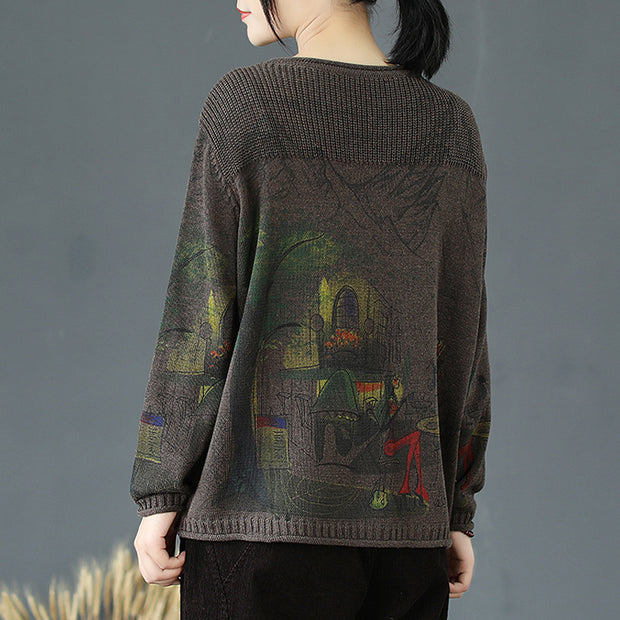 Buykud Round Collar Print Loose Pullover Knitted Shirt