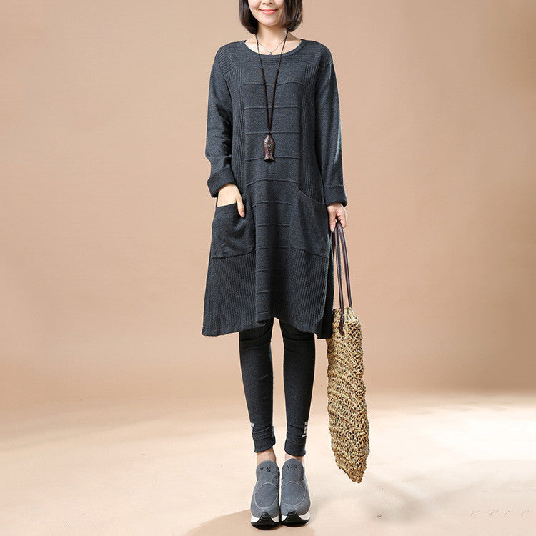 Women's Autumn Long Sleeve Round Neck Loose Sweater Dress