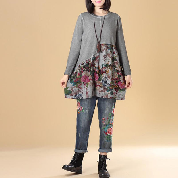 Autumn Women Floral Print Long Sleeve Sweater Dress