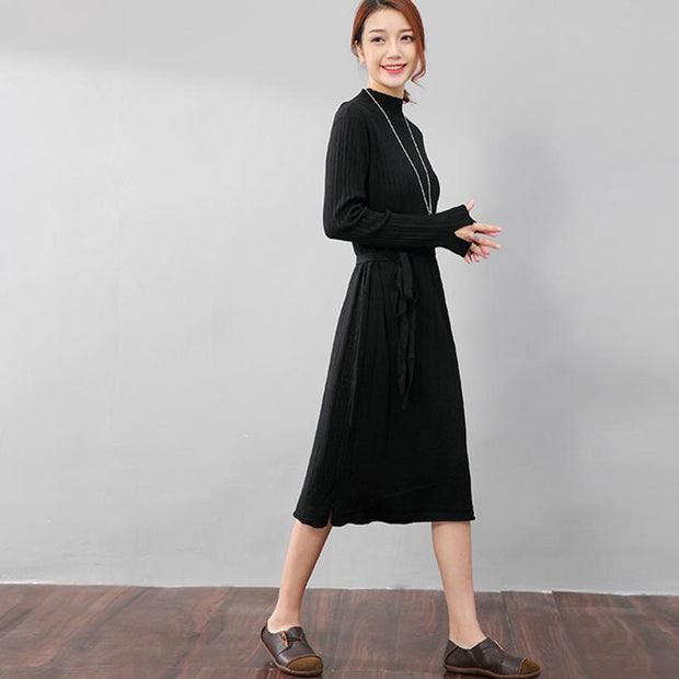 Chic Jacquard Women Long Sleeve Splitting Sweater Dress