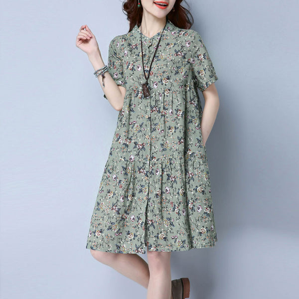 Retro Linen Floral Casual Women Cotton Green Loose - Buykud