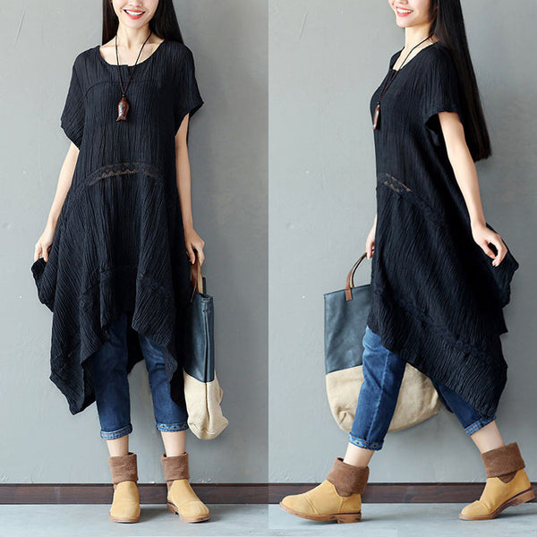 Irregular Linen Women Splicing Loose Black Dress