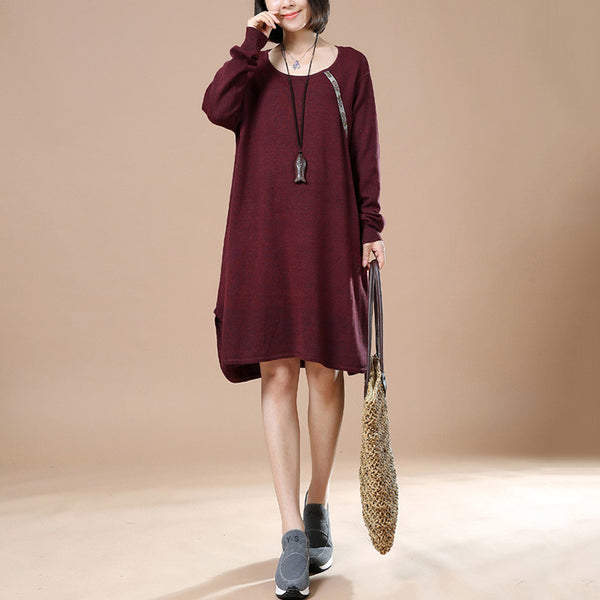 Women Retro Casual Sweater Red Wine Autumn Long Sleeve Dress