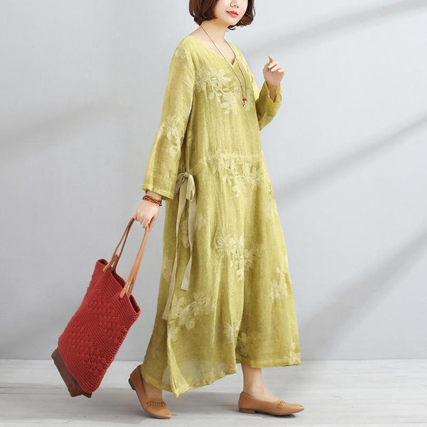 Casual V Neck Long Sleeve Yellow Lacing Women Dress
