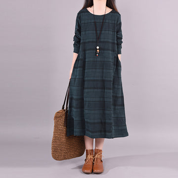Plus Size - Buykud Round Neck Casual Striped Loose Dress