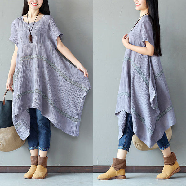 Irregular Linen Women Splicing Loose Gray Dress