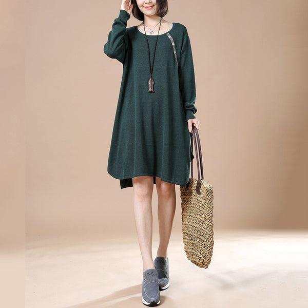 Women Autumn Long Sleeve Dress Retro Casual Sweater
