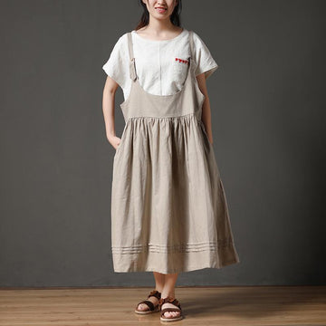 Pluse Size Cotton Linen Loose Women Pleated Casual Dress