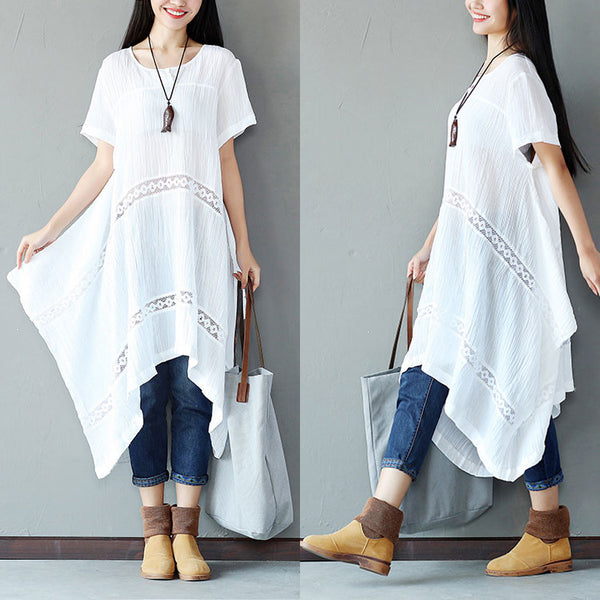 Irregular Linen Women Splicing Loose White Dress