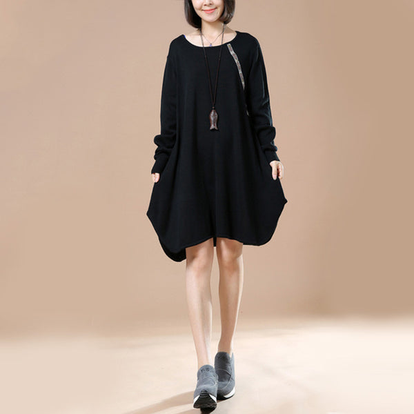 Women Retro Casual Sweater Black Autumn Long Sleeve Dress