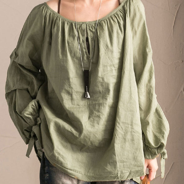 Plus Size Women Round Neck Long Sleeve Blouse Tops - Buykud