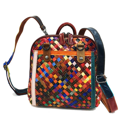 Women Rhombus Leather Ethnic Style Backpack