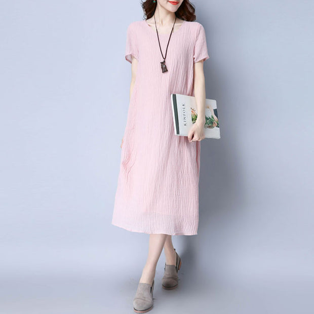 Casual Folded Women Pink Dress - Buykud