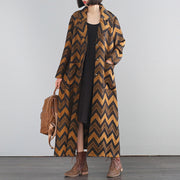 Buykud Wavy Pattern Casual Autumn Loose Trench Coat