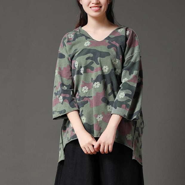 Camouflage Casual Irregular Hem Women Hooded Collar Shirt