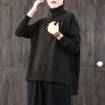 Buykud Loose Turtleneck Pullover Literary Casual Sweater