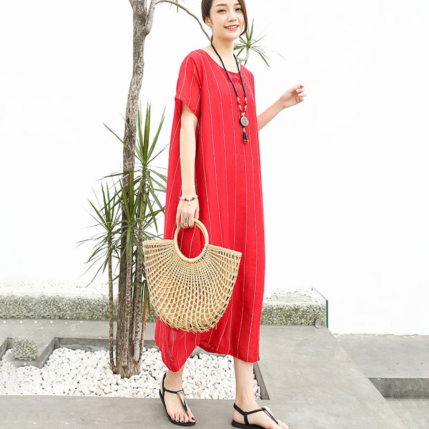 Stripe Women Short Sleeve Linen Cotton Red Dress