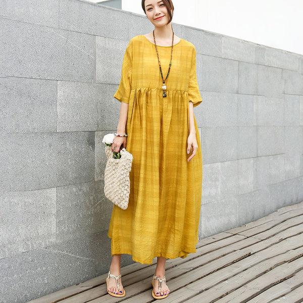 Loose Half Sleeve Round Neck Yellow Pleated Dress
