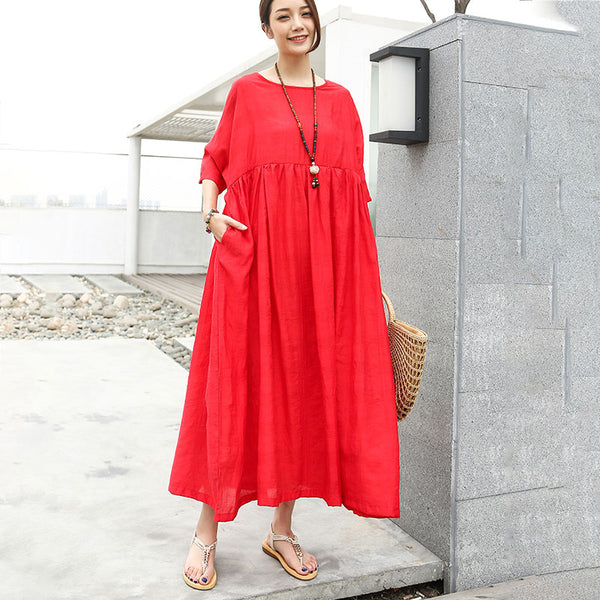 Loose Half Sleeve Round Neck Red Pleated Dress