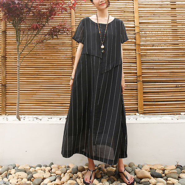 Linen Cotton Women Short Sleeve Stripe Black Dress