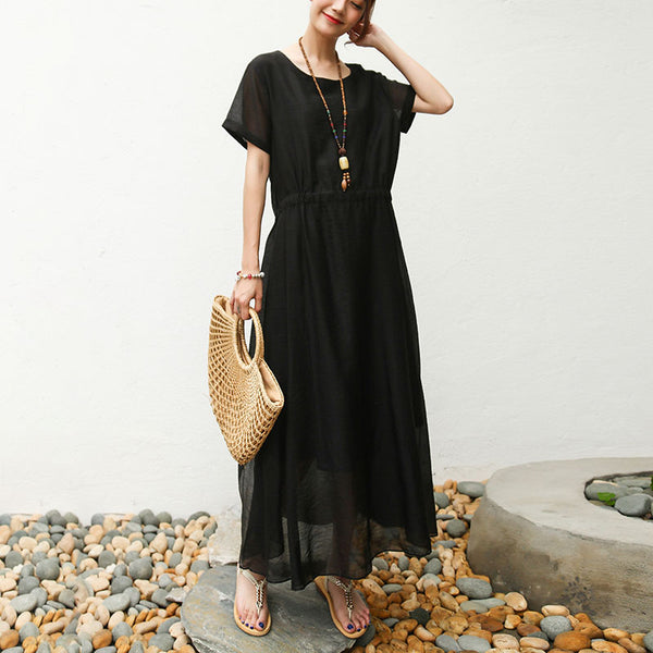 Women Short Sleeve Black Lacing Lining Dress