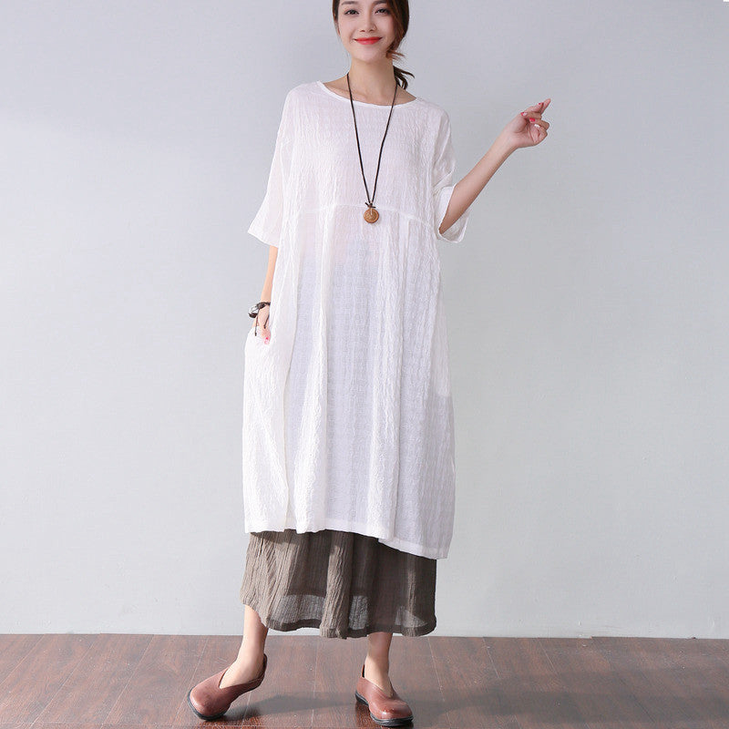 Loose Round Neck Casual Soft Women Short Sleeves White Dress - Buykud