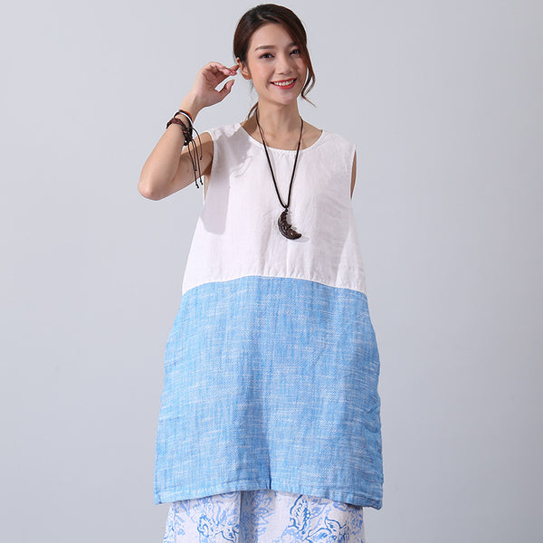 Color Matching Women Loose Casual Summer Linen White And Blue Dress - Buykud