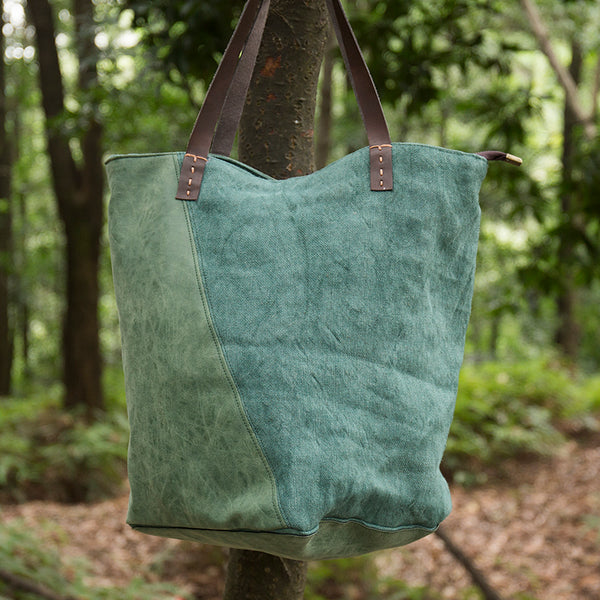 Chic Women Linen Cotton Leather Splicing Green Shoulder Bag - Buykud