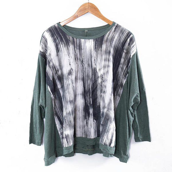 Chic Printing Round Neck Long Sleeves Green Women Shirt - Buykud