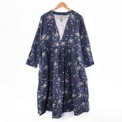 Floral Printing Round Neck Long Sleeve Loose Navy Blue Women Dress - Buykud