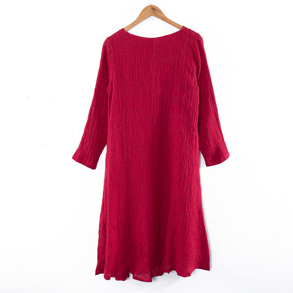 Linen Cotton Round Neck Long Sleeves Embroidery Red Women Dress - Buykud