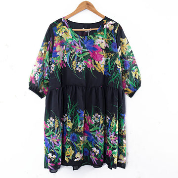 Flower Grass Printing Round Neck Short Sleeves Colorful Women Dress - Buykud