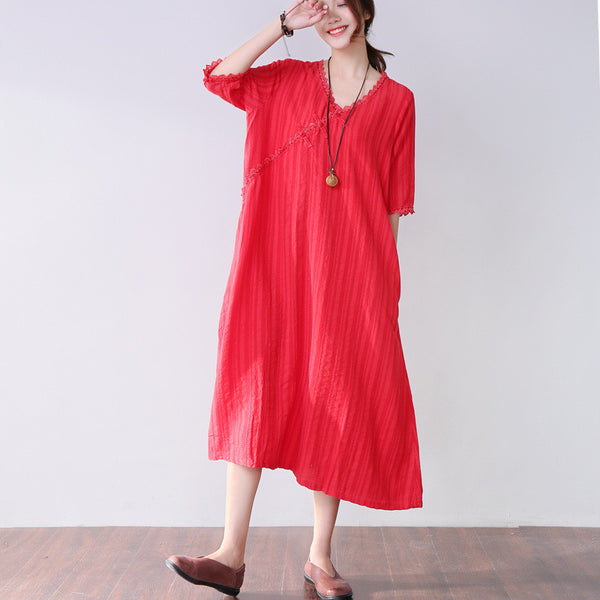 Frog Retro Splicing Loose Women Stripe Casual Cotton Red Dress - Buykud