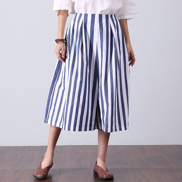 Casual Stripe Women Loose Cotton Pants - Buykud