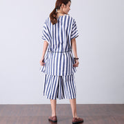 Loose Casual Summer Women Lacing Stripe Shirt - Buykud