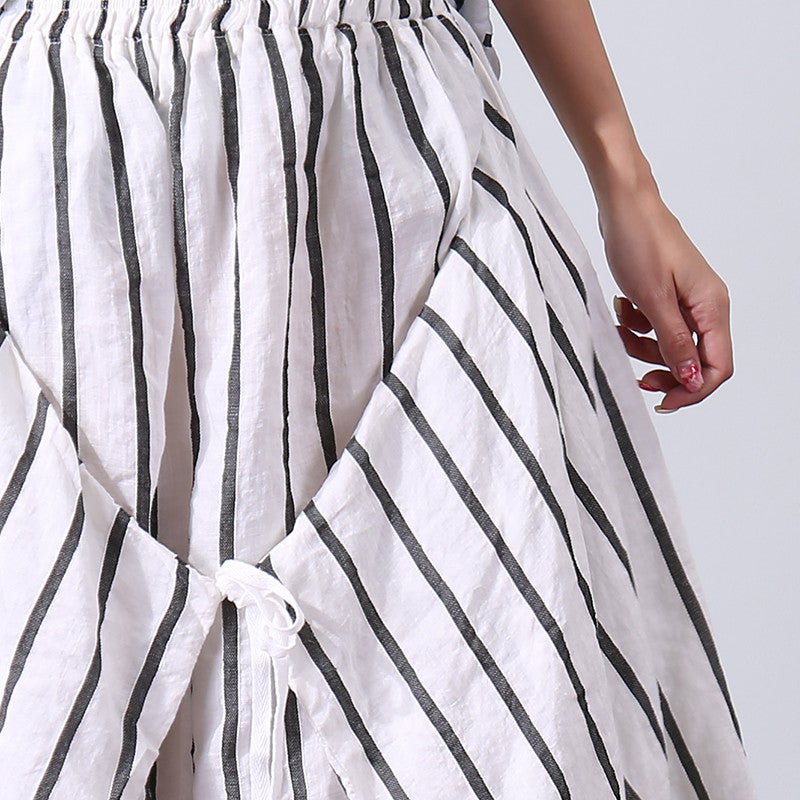 Irregular Stripe Loose Linen Women White Skirt - Buykud