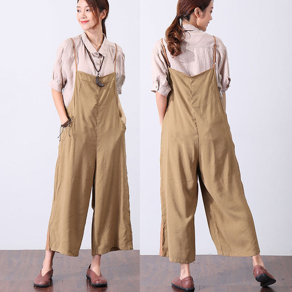 Casual Loose Cotton Women Coffee Jumpsuit