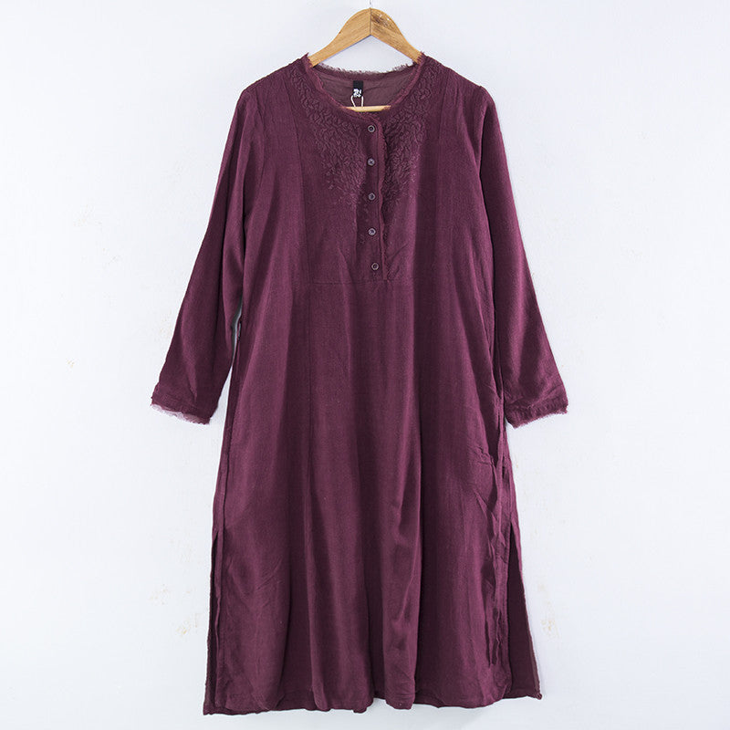 Embroidered Women Long Sleeves Dress - Buykud
