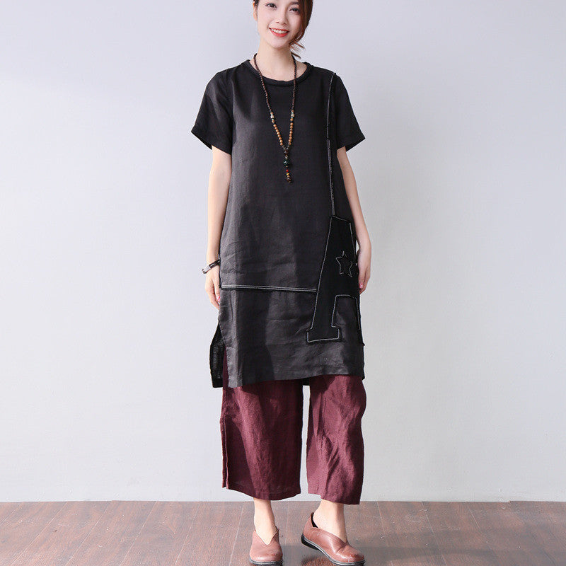 Women Summer Applique Cotton Short Sleeves Black Dress - Buykud