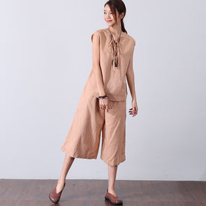 Loose Linen Simple Women Suits(Vest+Pants) - Buykud