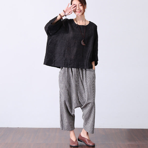 Casual Round Neck Short Sleeve Simple Women Black Shirt - Buykud