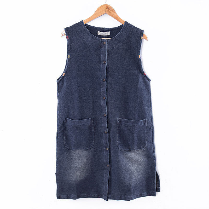 Stylish Women Sleeveless Thick Denim Dress - Buykud